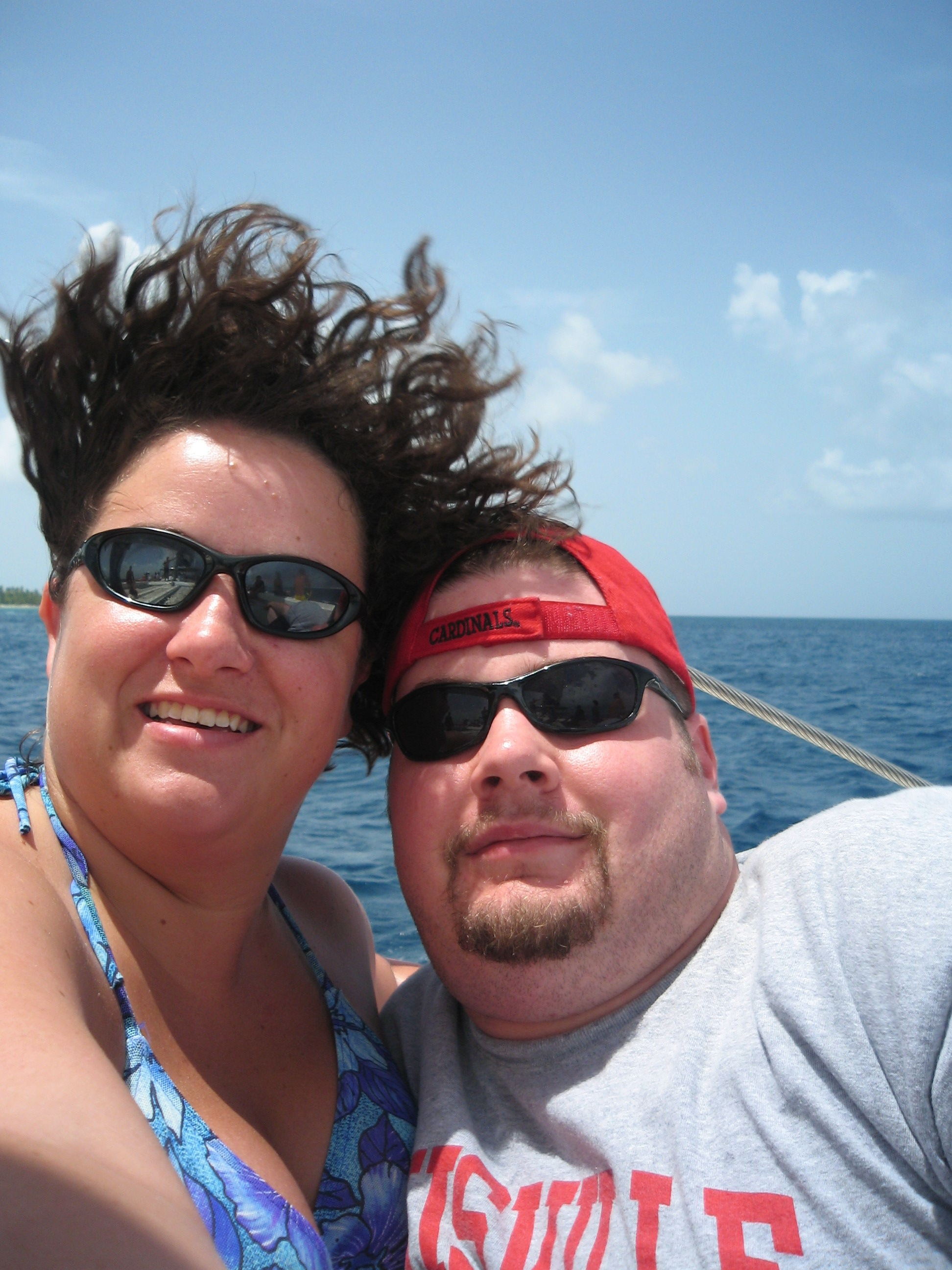 BJ and Katie on the Catamaran