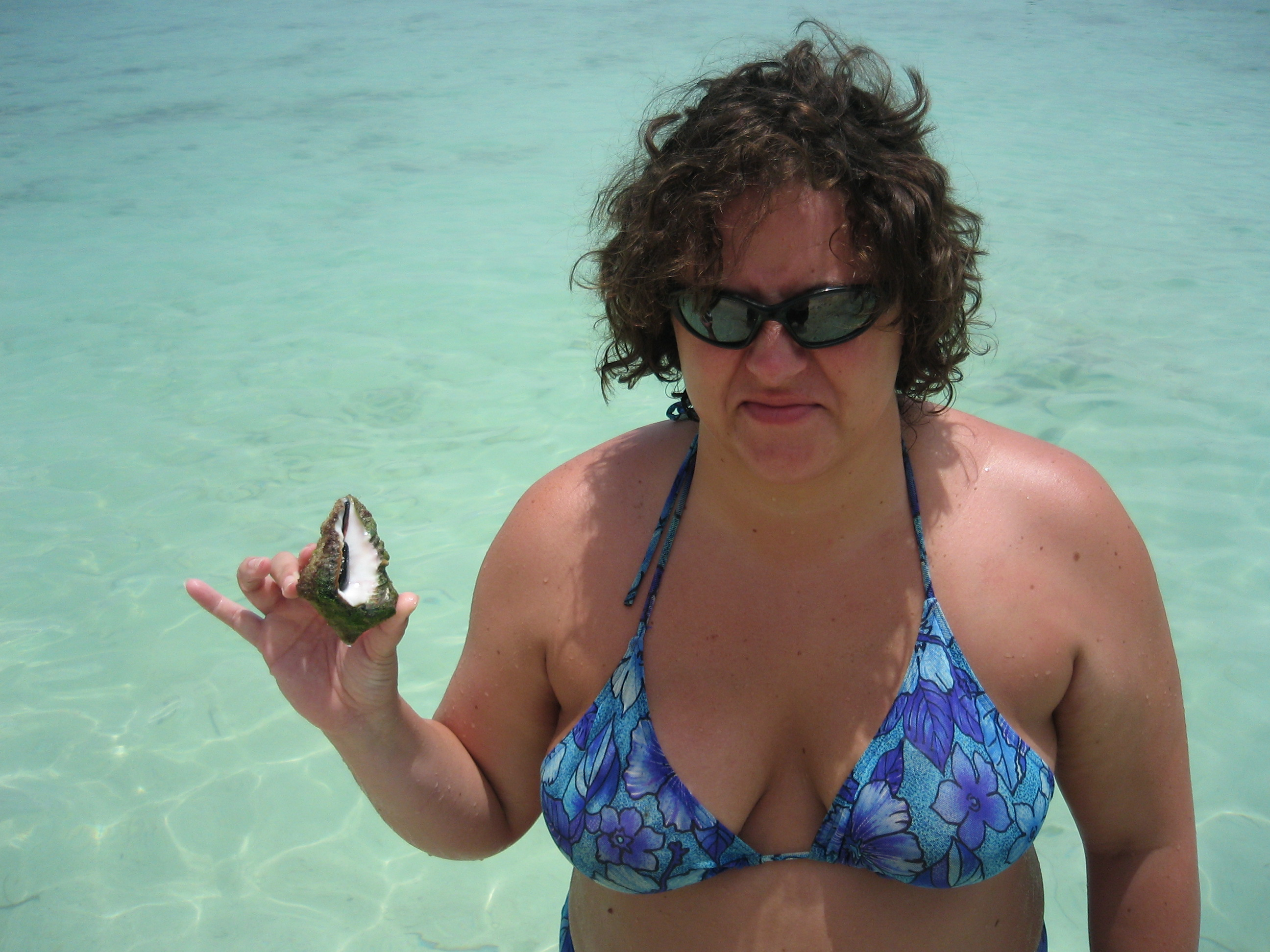 Katie showing her joy at holding the conch at Saona