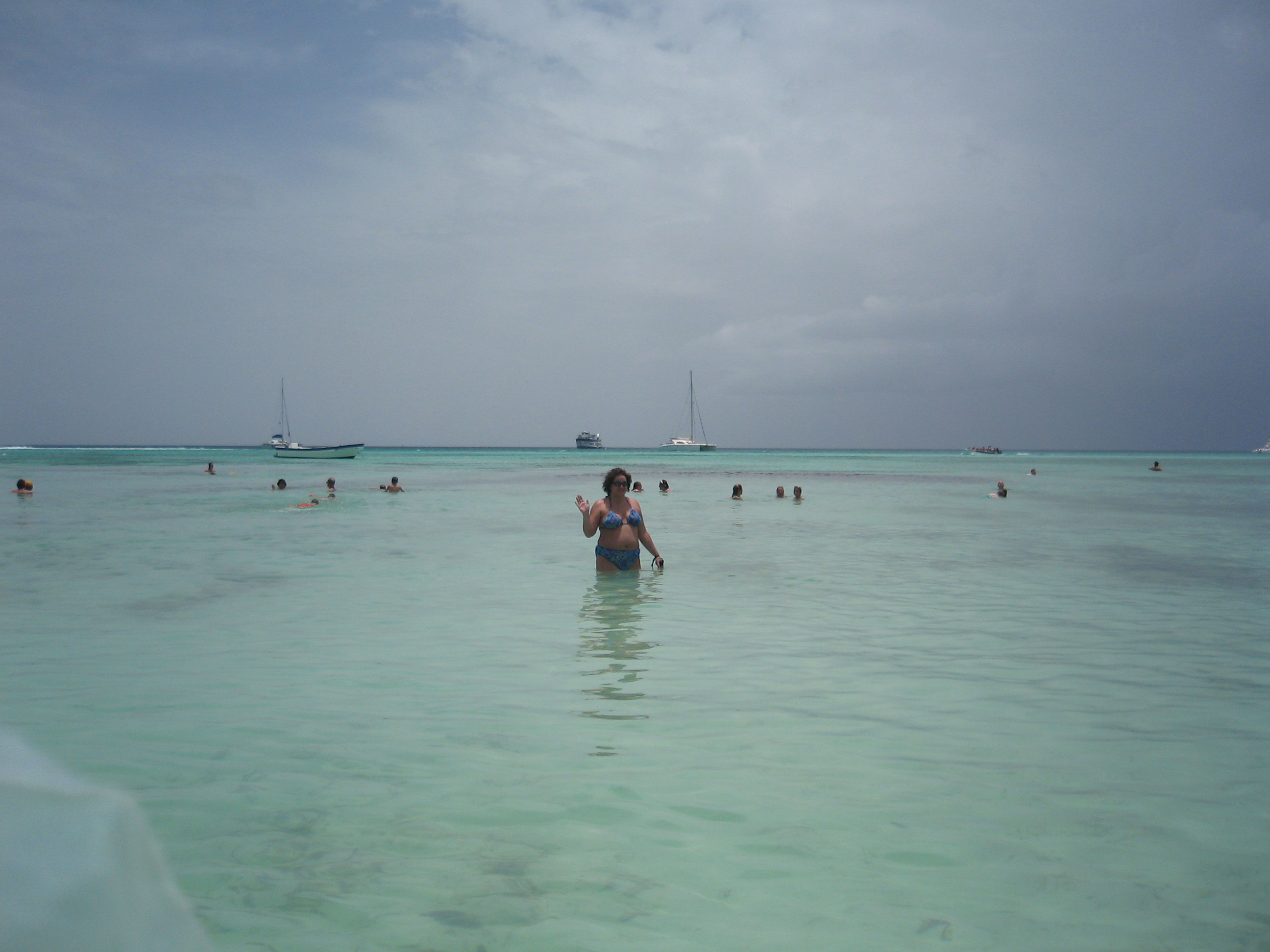 Katie in the water at Saona